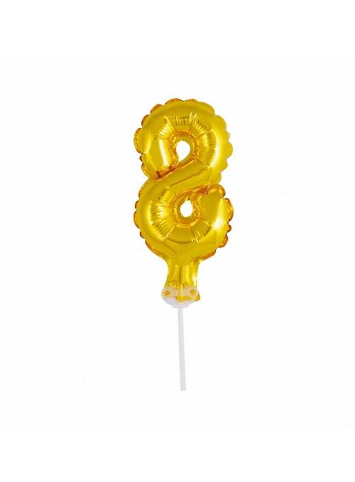 Balão Metalizado Topo de Bolo Número 8 Dourado – 1 unidade