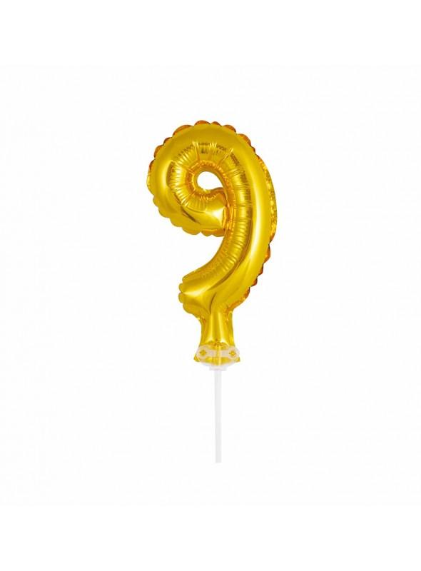 Balão Metalizado Topo de Bolo Número 9 Dourado – 1 unidade