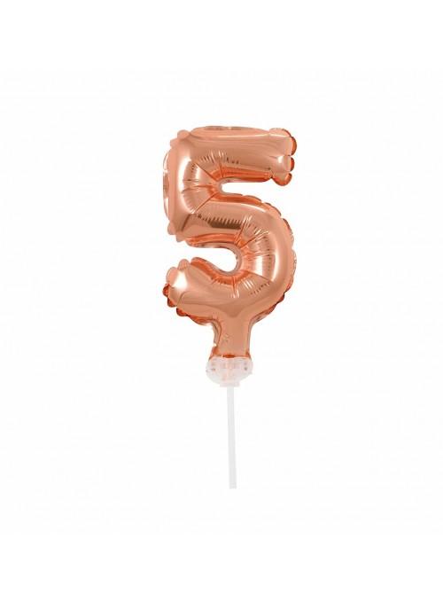 Balão Metalizado Topo de Bolo Número 5 Rose Gold – 1 unidade