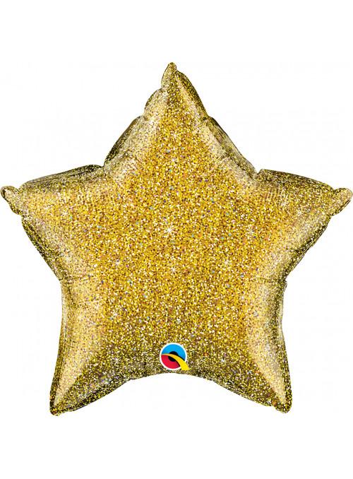 Balão Metalizado Estrela Glitter Dourado Qualatex – 1 unidade