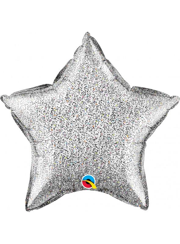 Balão Metalizado Estrela Glitter Prata Qualatex – 1 unidade