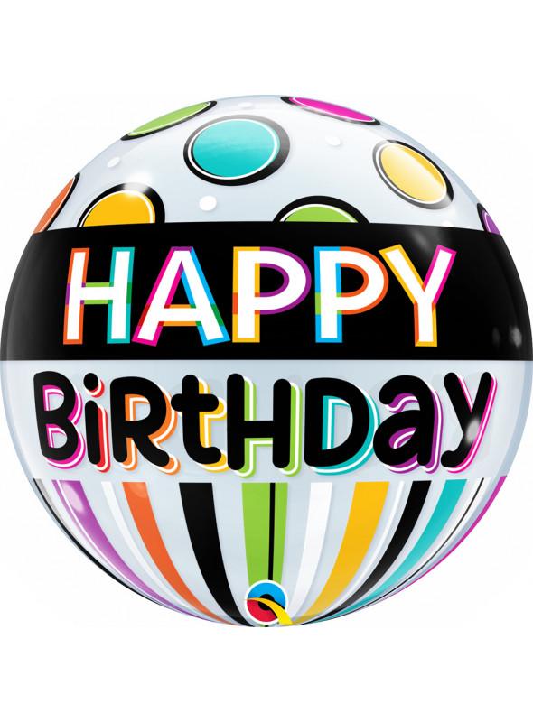 Balão Bubble Transparente Aniversário Listras Qualatex – 1 unidade