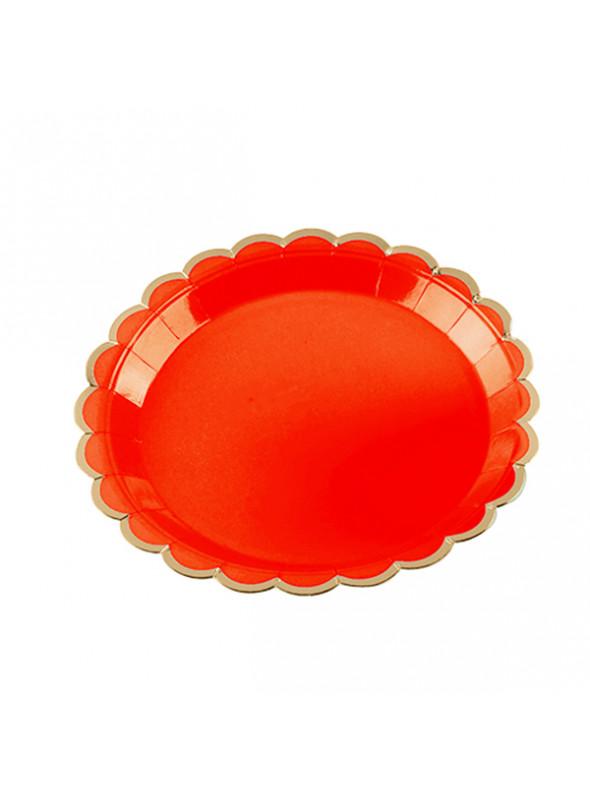 Pratos Descartáveis de Papel Vermelho e Dourado – 10 unidades