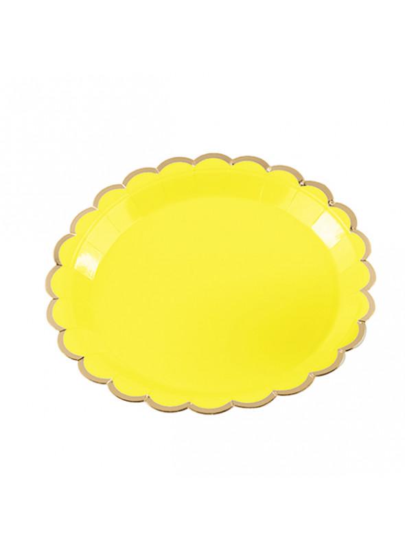 Pratos Descartáveis de Papel Amarelo e Dourado – 10 unidades