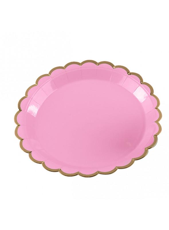 Pratos Descartáveis de Papel Rosa e Dourado – 10 unidades