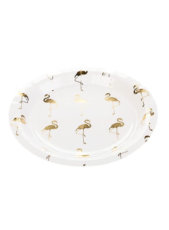 Pratos Descartáveis de Papel Flamingos– 10 unidades
