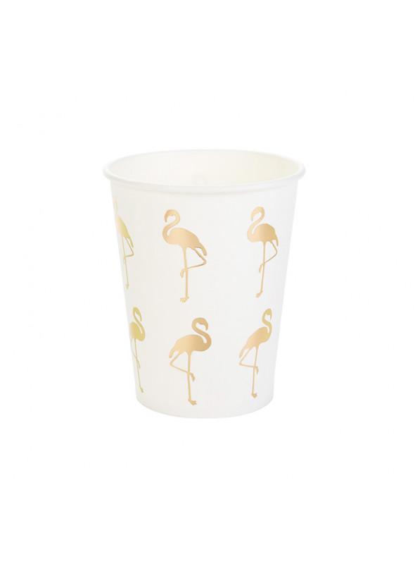Copos Descartáveis de Papel Flamingos – 10 unidades