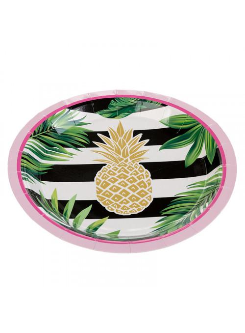 Pratos Descartáveis de Papel Abacaxi Tropical – 10 unidades