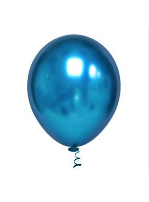 Balões de Látex Platino Cromado Azul 10 Polegadas – 25 unidades