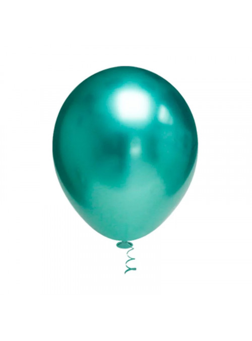 Balões de Látex Platino Cromado Verde 10 Polegadas – 25 unidades