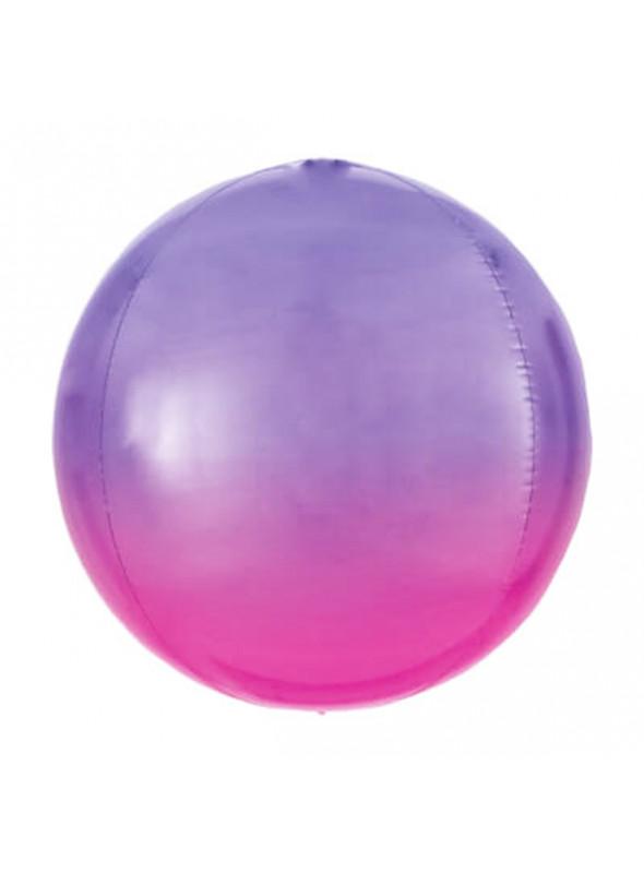 Balão Bolha Metalizado Degrade Roxo – 1 unidade
