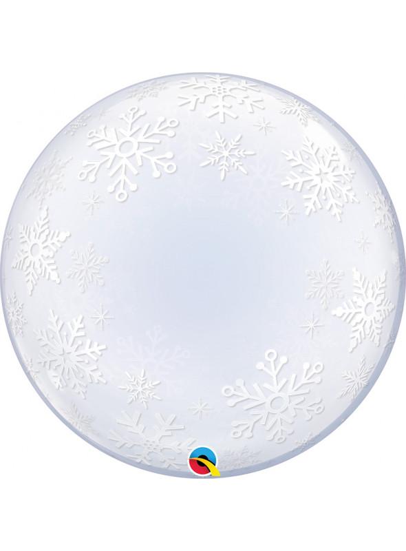Balão Bubble Transparente Flocos de Neve Qualatex - 1 unidade