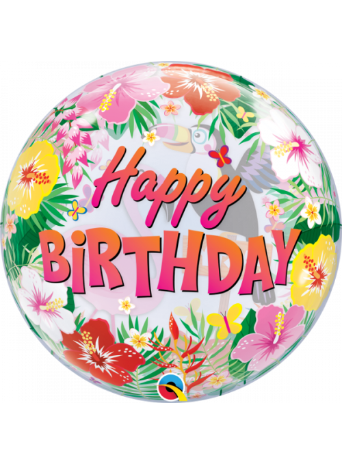 Balão Bubble tropical Happy Birthday