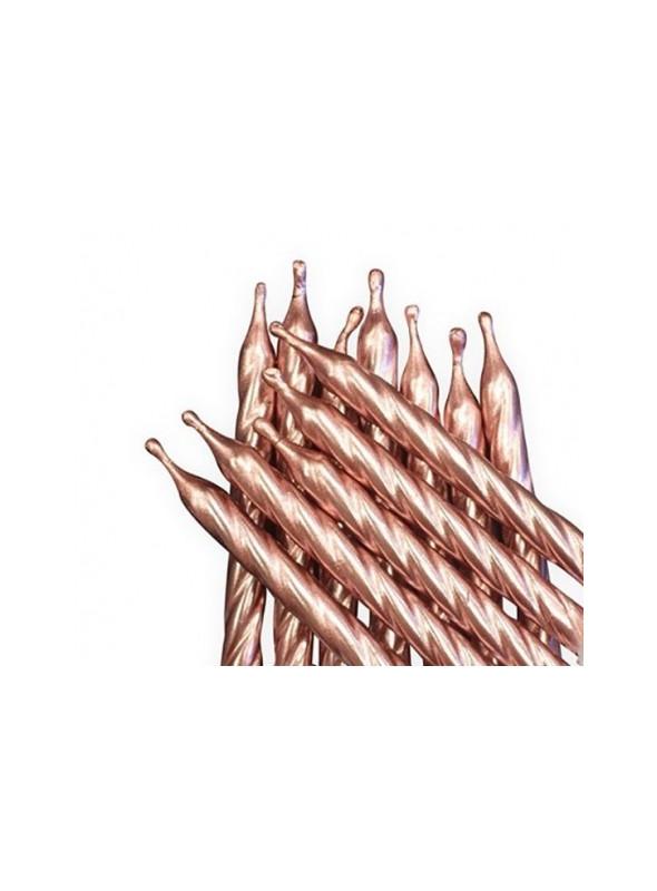 Velas de Bolo Aniversário Espiral Rosé Gold – 8 unidades