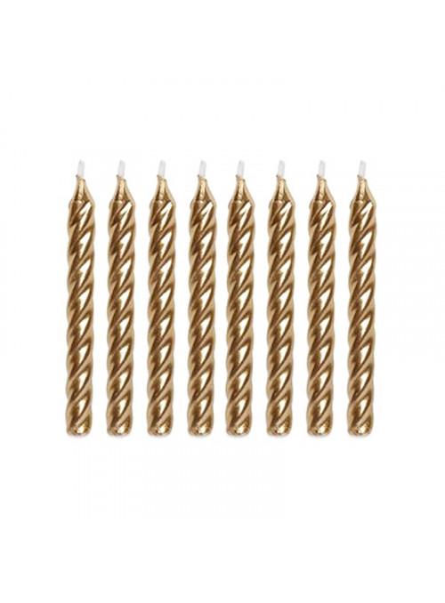 Velas de Bolo Aniversário Espiral Dourada – 8 unidades