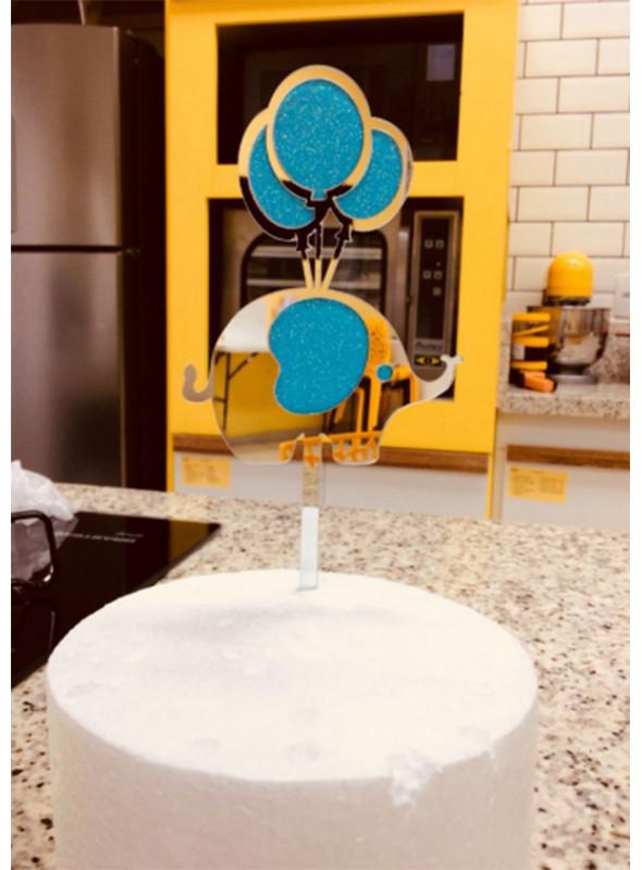Topo de Bolo Elefante Azul Vivarte – 1 unidade