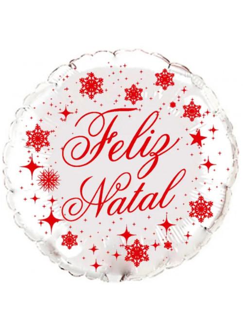 Balão Metalizado Feliz Natal Prata – 1 unidade