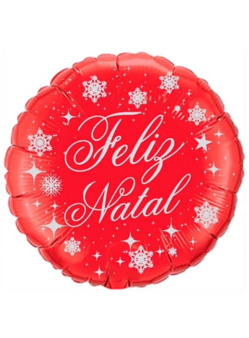 Balão Metalizado Feliz Natal Vermelho – 1 unidade