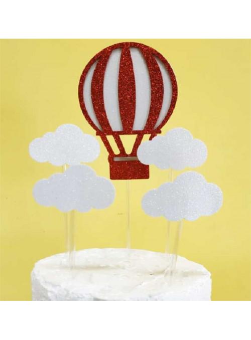 Topo de Bolo Balão e Nuvens – 1 unidade