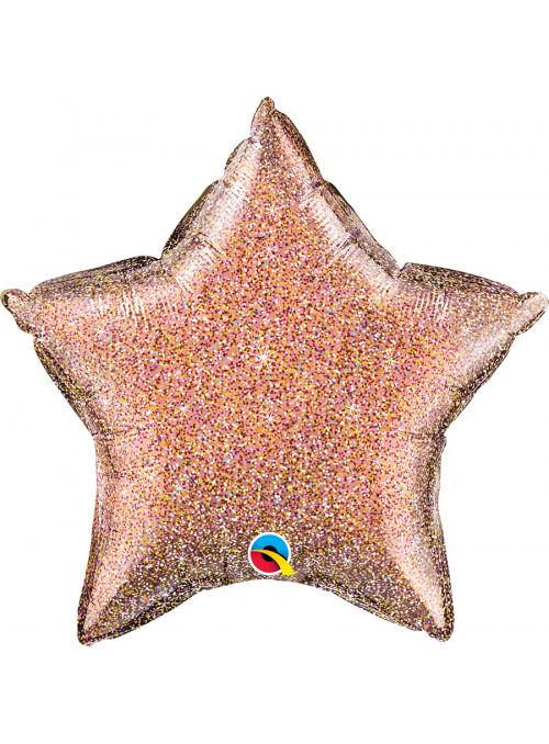 Balão Metalizado Estrela Rose Glitter Qualatex – 1 unidade