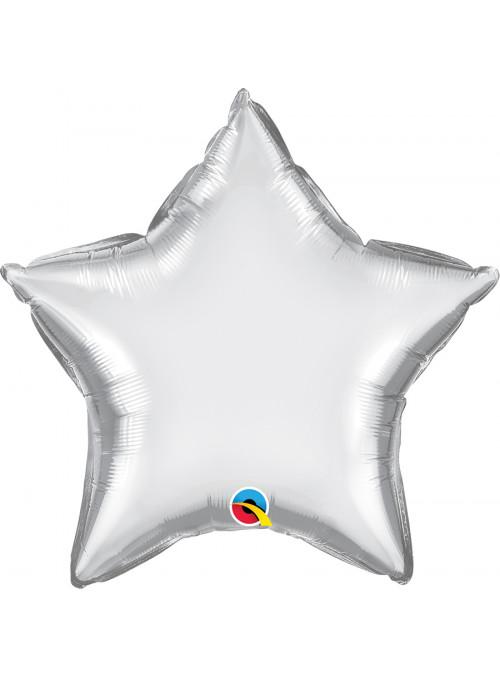 Balão Metalizado Chrome Estrela Prata Qualatex – 1 unidade