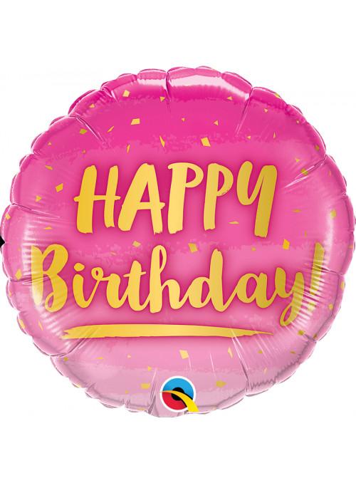 Balão Metalizado Aniversário Rosa e Dourado Qualatex – 1 unidade