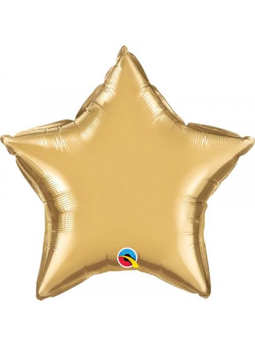 Balão Metalizado Chrome Estrela Dourado Qualatex – 1 unidade