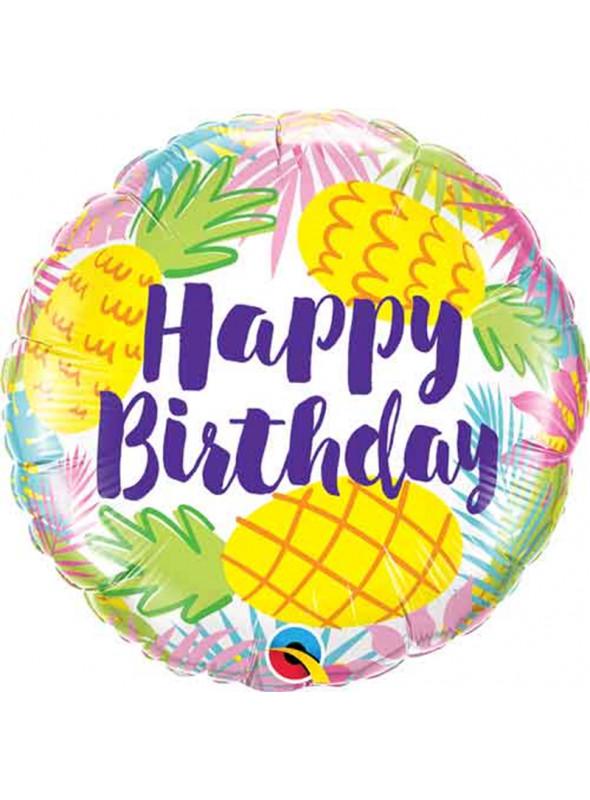 Balão Metalizado Aniversário Abacaxi Tropical – 1 unidade