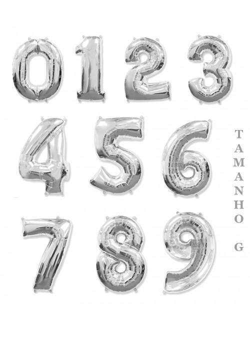 Balões Metalizados Prata Números Tamanho G