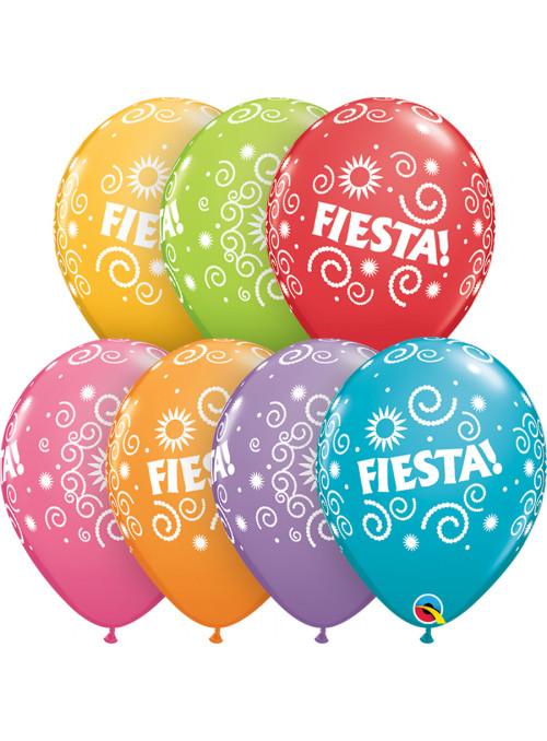 Balões de Látex Sortidos Decorados Fiesta Espirais