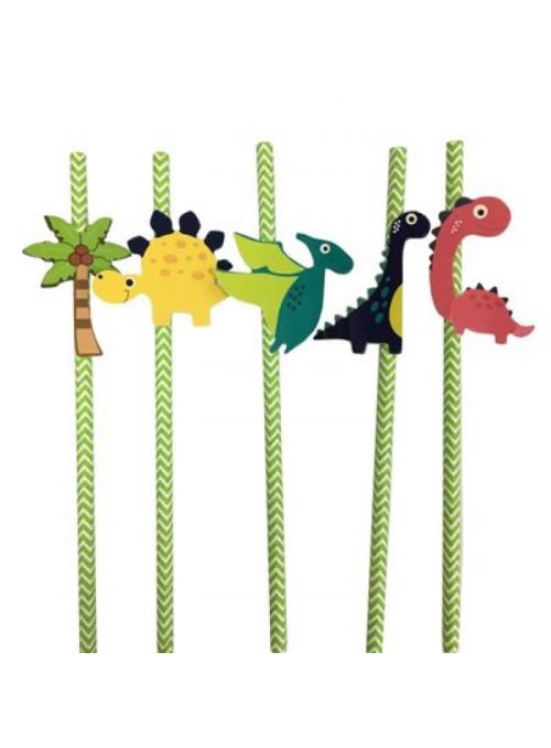 Canudos de Papel Dinossauros – 5 unidades