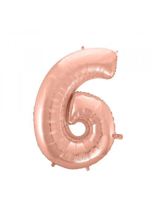 Balão Metalizado Número 6 Rose Gold 28 Polegadas