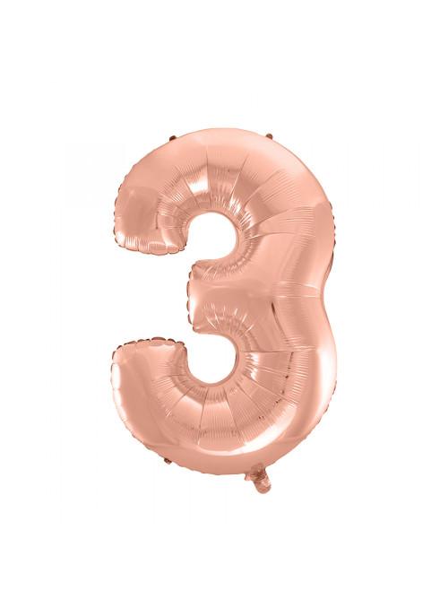 Balão Metalizado Número 3 Rose Gold 16 Polegadas