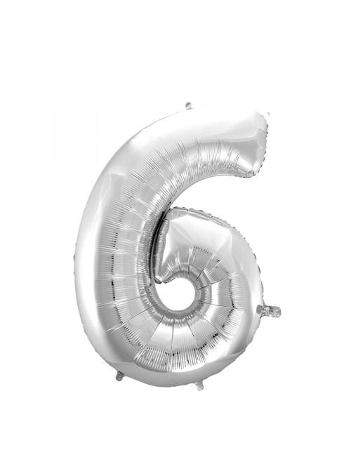 Balão Metalizado Número 6 Prata 28 Polegadas