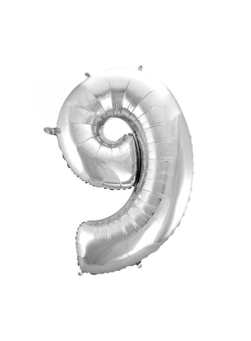Balão Metalizado Número 9 Prata 28 Polegadas