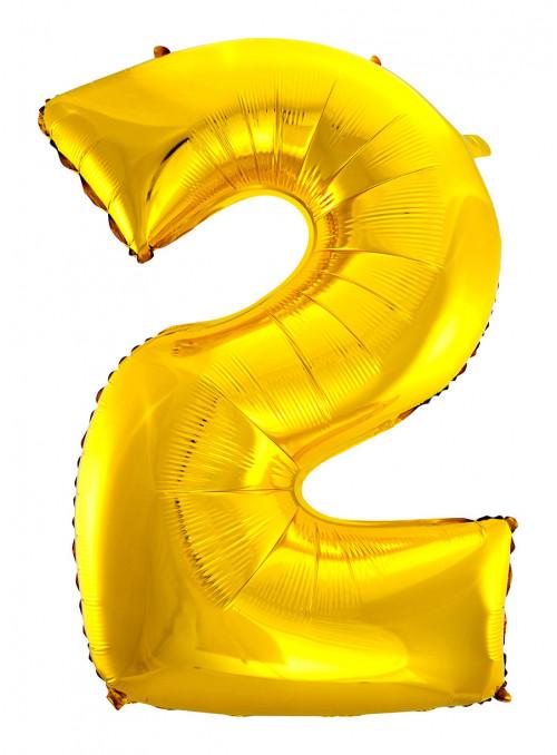 Balão Metalizado Número 2 Dourado 28 Polegadas