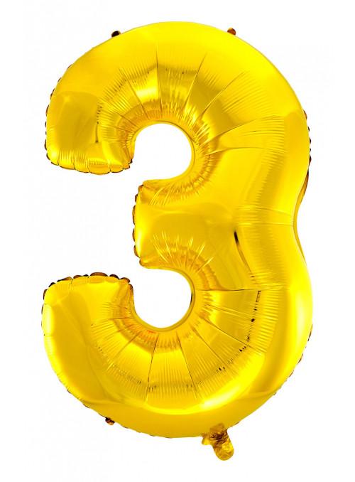 Balão Metalizado Número 3 Dourado 28 Polegadas