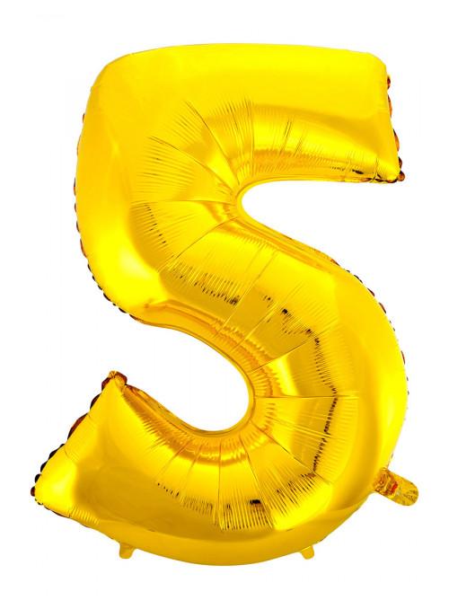 Balão Metalizado Número 5 Dourado 28 Polegadas