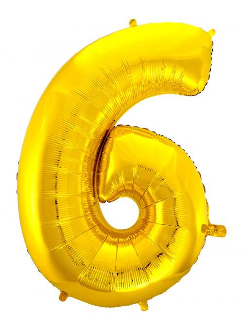 Balão Metalizado Número 6 Dourado 28 Polegadas