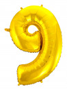 Balão Metalizado Número 9 Dourado 28 Polegadas
