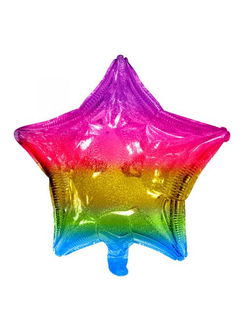 Balão Metalizado Estrela Holográfica Arco-íris 18 Polegadas