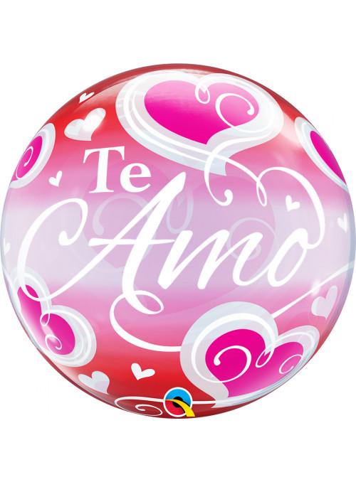 Balão Bubble Transparente Te Amo Corações