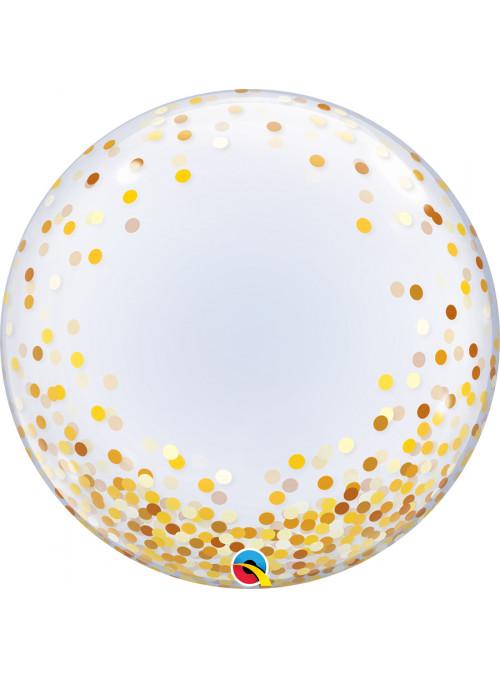 Balão Bubble Transparente Confetes Dourados
