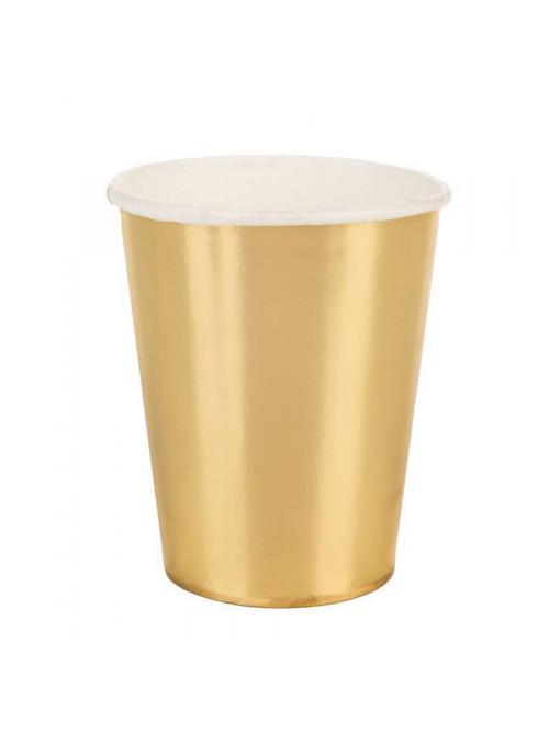 Copos Descartáveis de Papel Liso Dourado – 10 unidades