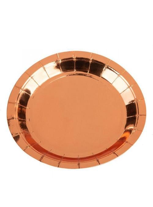 Pratos Descartáveis de Papel Liso Rose Gold - 10 unidades