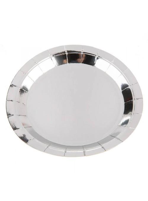 Pratos Descartáveis de Papel Liso Prata - 10 unidades