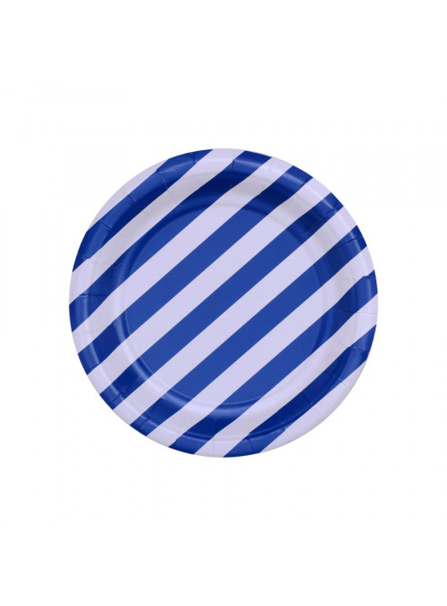 Pratos Descartáveis De Papel Listras Azul - 10 Unidades