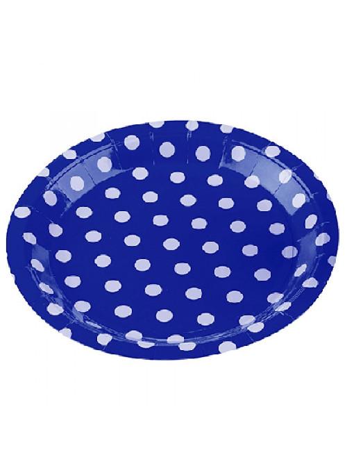 Pratos Descartáveis De Papel Bolinhas Azul 10 Unidades