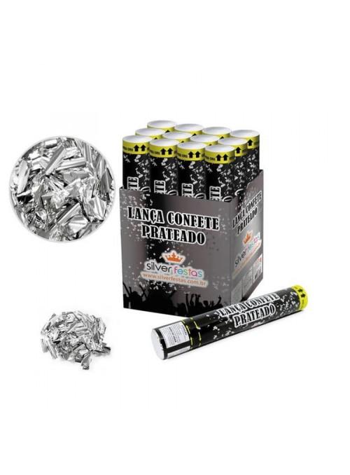 Lança Confetes Papel Prateado - 1 unidade