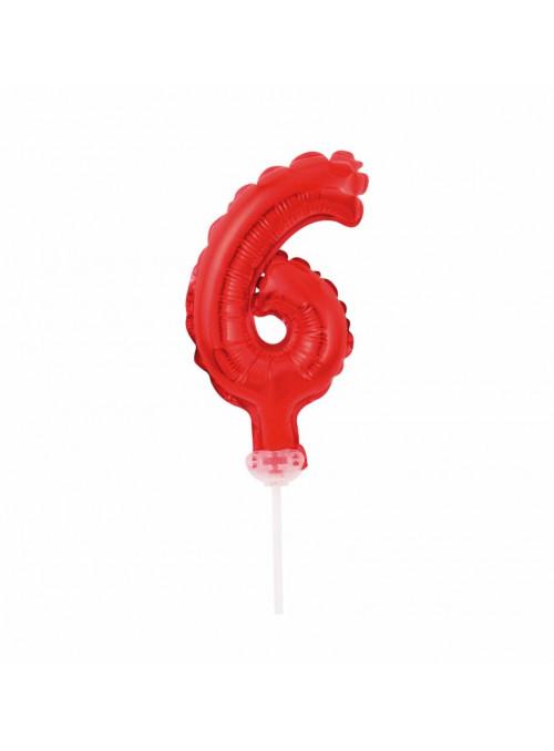 Balão Metalizado Topo de Bolo Número 6 Vermelho - 1 unidade